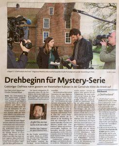"""Hans Ulrich Meyer und Günther Gerhard Meyer: """"Drehbeginn für Mysterie-Serie"""" . In: Emder Zeitung vom 4. Mai 2016. S 10"""