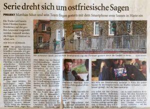 """Sylvie Gühmann: """"Serie dreht sich um ostfriesische Sagen"""". In: Ostfriesen-Zeitung vom 4. Mai 2016. S. 9"""