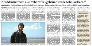 """EFS/HUM/GGM: """"Norddeicher Watt als Drehort für 'geheimnisvolle Schlusselszene'"""". In: Ostfriesischer Kurier vom 6. Mai 2016. S. 4"""